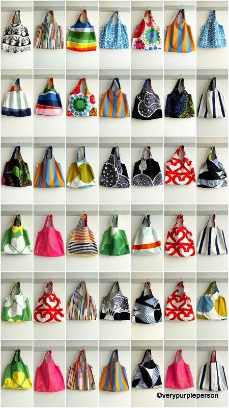 reversible Charlie bags (burda pattern here: http://www.burdastyle.com/patterns/charlie-reusable-grocery-bag--2)