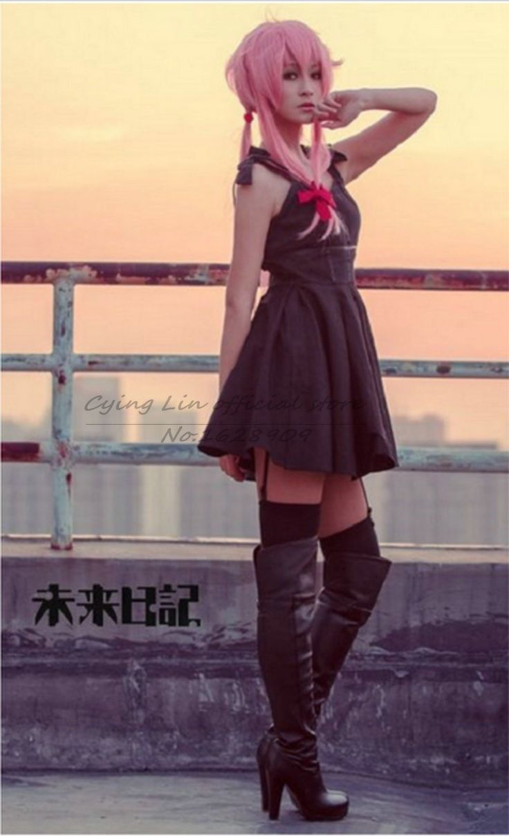 anime for New Future Diary Mirai Nikki Gasai Yuno Cosplay Wig wigs long straight wig +wig cap free shipping