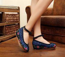 Nuevos 2017 Diseñador Zapatos de Mujer Zapatos de Cuña Plataforma de Tacón Alto de La Moda Bordado de Las Mujeres de Lona Ocasionales Bombas SMYXHX-C0012(China (Mainland))