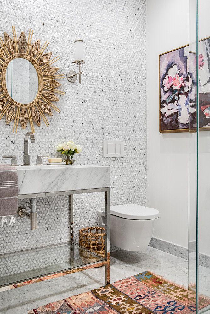 Rosa Beltran Design Mediterranean California Home Tour Bathroom Wall Tile Bathroom Design Bathroom Wall Decor