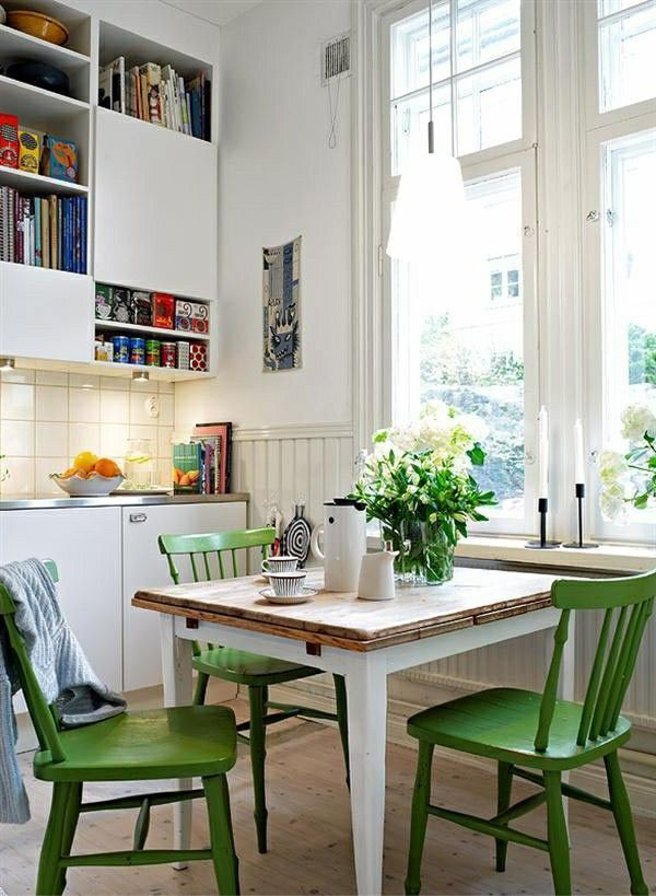 High Quality The Green Chairs Add A Brightness To This Simply Decorated Kitchen   A Way  Of Using Pantoneu0027s Colour Of The Year, Greenery.