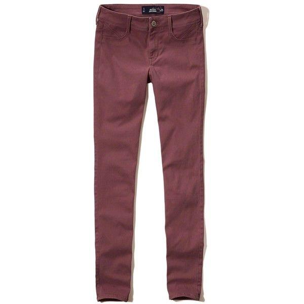 Hollister Low-Rise Jean Leggings ($25) ❤ liked on Polyvore featuring pants, leggings, dark pink, jeggings pants, red jean leggings, low rise jeggings, low rise trousers and denim leggings