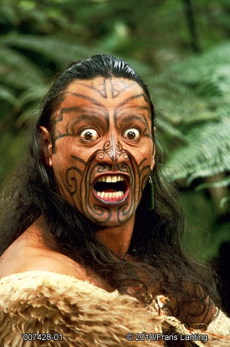 Maori man in kiwi cloak making traditional threat gesture, Rotorua, New Zealand…