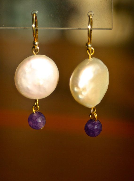Dangle drop button pearl earrings purple agate by marysartjewelry, $30.00