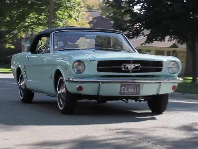 pale green classic ford mustang convertible