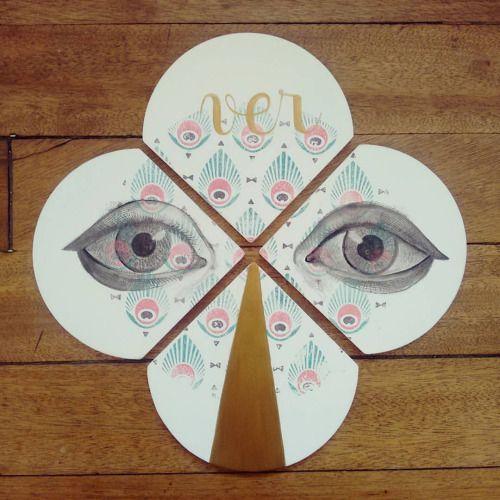 """ Ver "" set de 4 posa vasos pieza única #Himallineishon #coasters #eye #illustration #handpainted #homedecore"