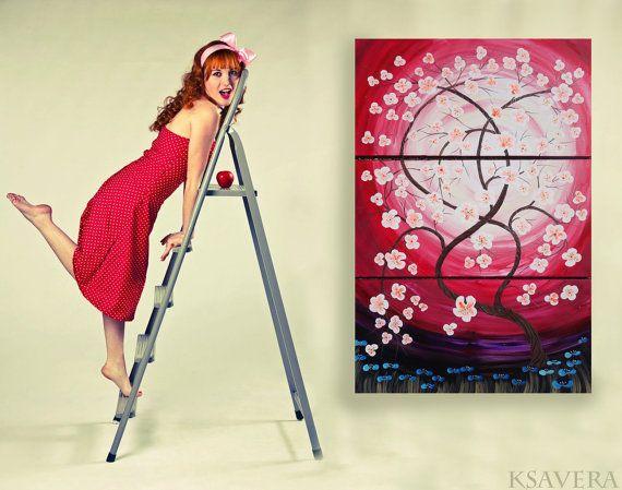Weddings gift RosE SaKuRa sunrise painting tree in by KsaveraART #sakura #painting #art #cherryblossom #cherryblossoms #tree #rose #red #burgundy #decor #large #acrylic #sunset #sunrise #spring