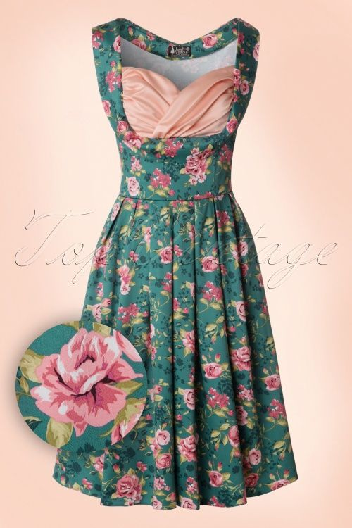 Lady V by Lady Vintage - 50s Madison Summer Rose Swing Dress in Vintage Green