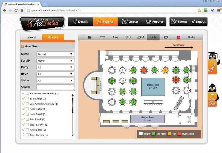 With their easy-to-use interface, AllSeated will create a digital map of your wedding reception floor plan -- and with their long list of table styles, dance floors and other room rentals -- brides, grooms, moms, planners and venue managers can create a to-scale, printable, seating chart and floor plan of your reception. You can also manage your guest list and keep track of RSVPs with this free tool.
