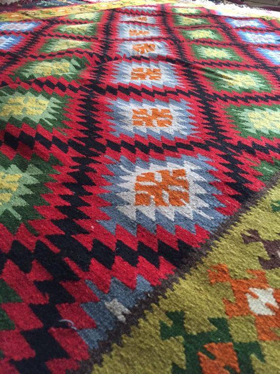 Vintage Balkans Kilim Rug KOTLENSKI Geometric pattern di ReeLab