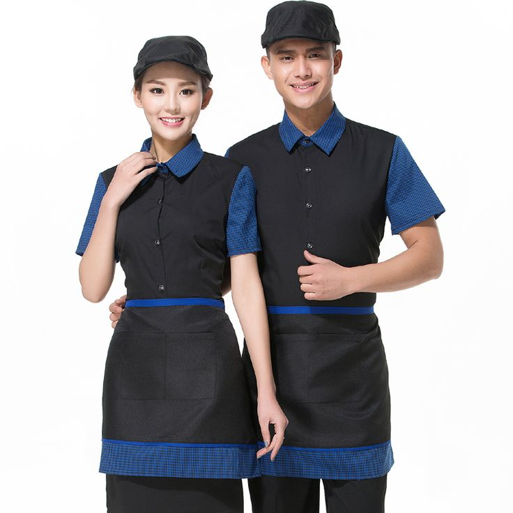 New Server Clothing Hotel Fashion Turn Down Neck Royal Shirt+Apron Uniform Resturant Attendant Workwear Cafe Shop Clerk Uniforms #Affiliate