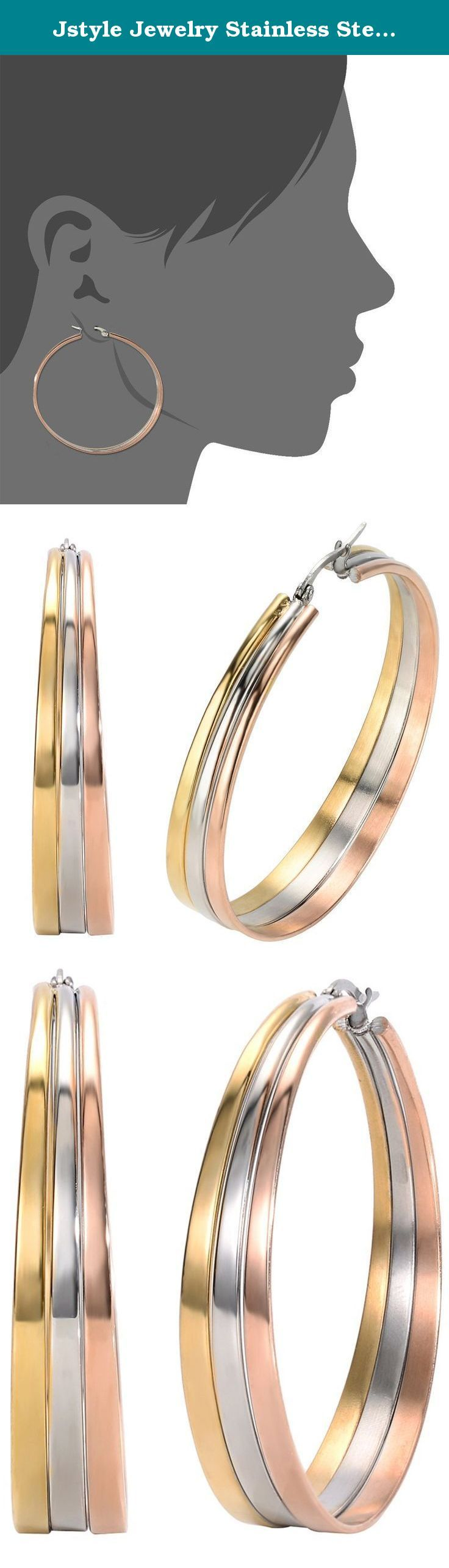 Jstyle Jewelry Stainless Steel Tri-color Big Hoop Earrings for Women. Jstyle Jewelry Stainless Steel Tri-color Big Hoop Earrings for Women (51 37mm Diameter) High quality stainless steel has high resistance to rust, corrosion and tarnishing, which requires minimal maintenance. Stainless steel is one of the most bio-compatible metals, so stainless steel jewelry is amazingly hypoallergenic because of its anti-allergic properties. As one of the strongest of all jewelry metals, it does not...