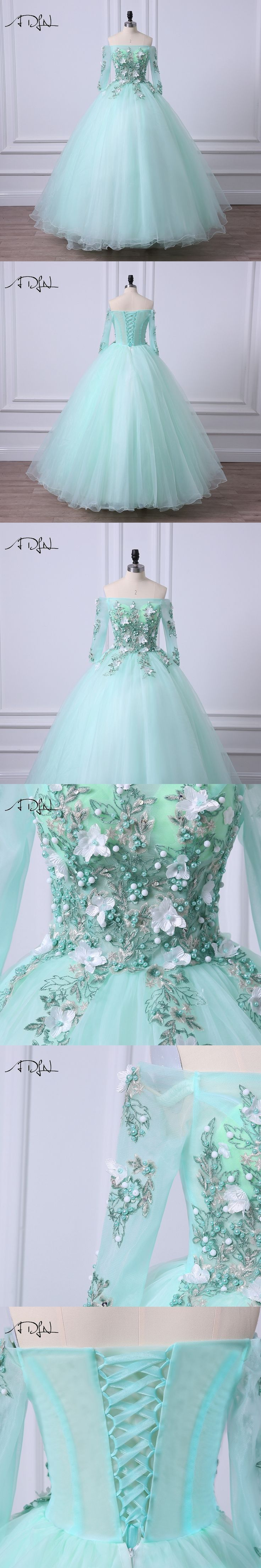 ADLN Mint Green Quinceanera Dresses Off-the-shoulder Fairy Debutante Gown 2017 Short Sleeve Ball Gown Sweet 16 Dress