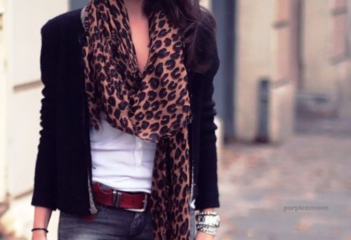 Blazers, printed scarves, bright belts, chunky jewelry, basic tees.