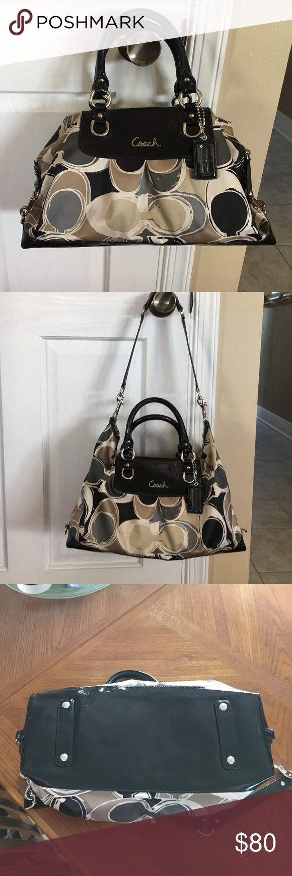 """Beautiful Coach satchel Beautiful Coach satchel black patent leather w/tan, cream and gray colors. Bought on here but it's a little too big for me. It's a beautiful bag though in great condition!!! Just a few small marks on the bottom which are hardly noticeable. Size is 15""""W 8""""H 7""""D. Coach Bags Satchels"""
