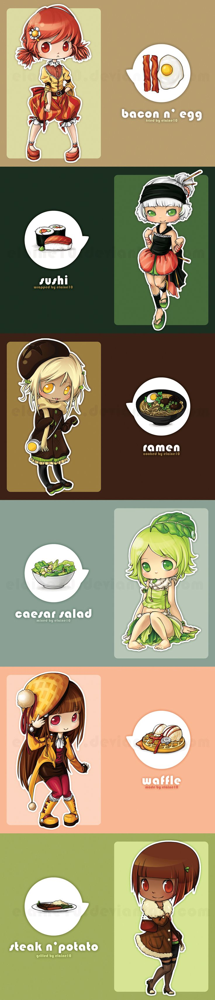 Food Series by Elaine10.deviantart.com on @deviantART - Personified anime foods? Well, why not?