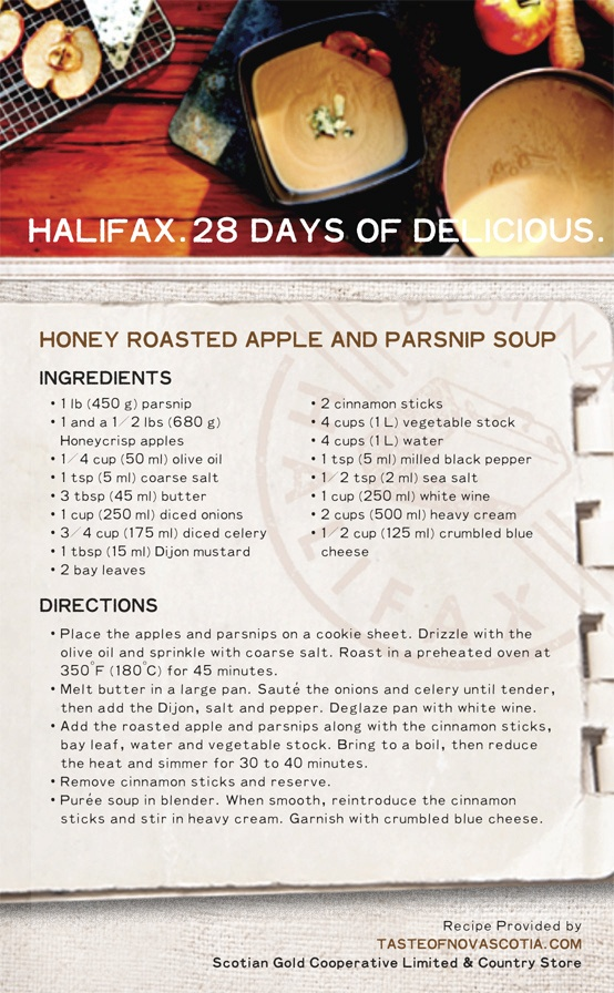 """""""Honey Roasted Apple and Parsnip Soup"""" is on the #Halifax food menu today, with a smooth and creamy soup starring #parsnips, Honeycrisp #apples, and #cinnamon to spice things up. A great example of #Maritime cuisine that's easy to prepare and a pleasure to eat. #28daysofdelicious"""