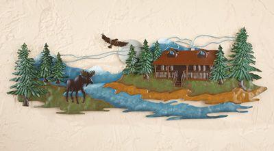 Woodland Cabin Metal Wall Art