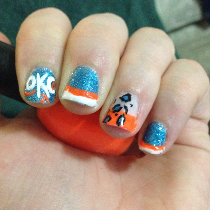 40 best nails thunder images on pinterest thunder nail art okc thunder nails prinsesfo Image collections