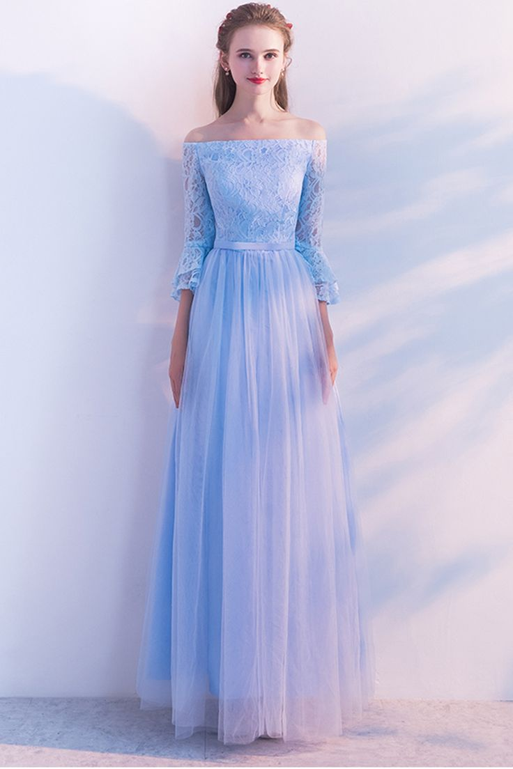 Cute ice blue tulle off shoulder prom dress with long sleeves