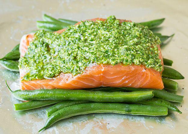 Pesto Salmon and Italian Veggies in Foil | Cooking Classy