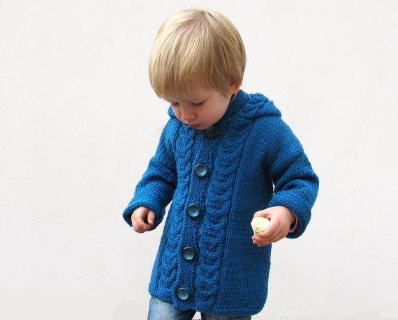 Kids sweater Hand knitted merino wool jacket for от Junikid, $109.00