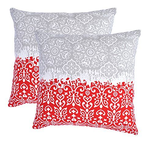 TreeWool, (Pack of 2) Cotton Canvas Marvel Accent These light red throw pillows are super cute.  Decorative Throw Pillow Covers (18 x 18 Inches, Red & Grey)