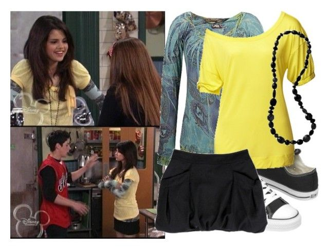 """[Set 405] Selena Gomez as Alex Russo"" by jc10 ❤ liked on Polyvore featuring Disney, Converse, Daytrip, Miu Miu, Old Navy, wizards of waverly place, the supernatural, alex russo, wowp and selena gomez"