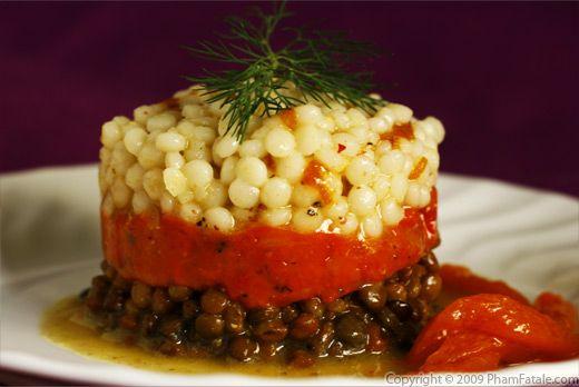 Couscous israélien et salade de lentilles avec rôti Poivron rouge Gelée Recette