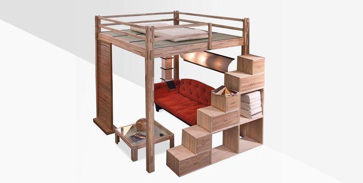 Cinius - Soppalco o Letto a soppalco Yen. Un nuovo modo di vivere i tuoi spazi, una stanza in più. Soppalco il legno. Letti a soppalco in legno