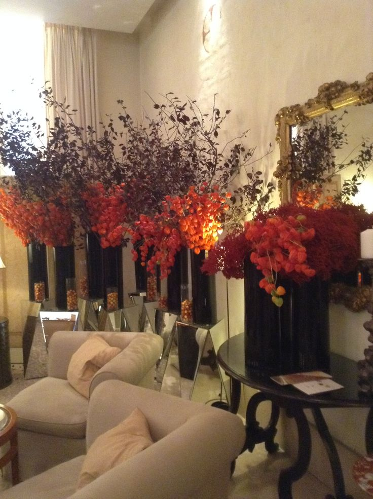 Autumnal colours flower installations
