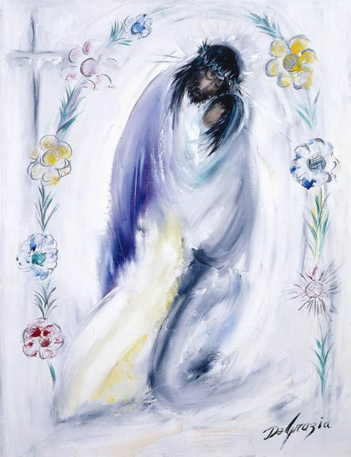 "While living in Italy as a small child DeGrazia was exposed to the art of the Catholic Church. Although he never formally participated in church life, this particular series of paintings reflect a deep reverence for all things religious. Instead of the traditional 14 Stations of the Cross, DeGrazia's collection culminates with the resurrection. ""I never thought the cycle would be completed unless we had the 15th station where Jesus arises in glory."" Station IV Jesus meets His mother."