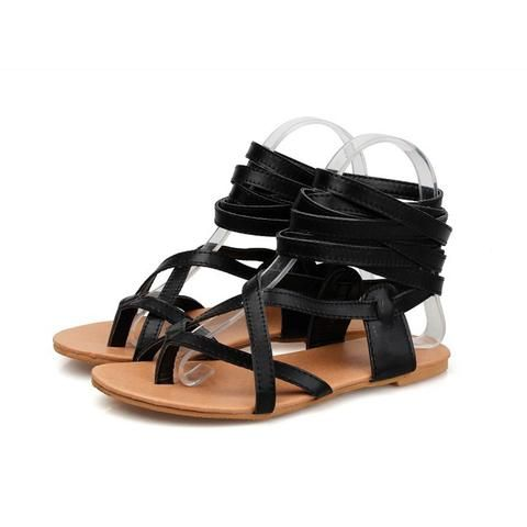 4289b5df93a  EBay  Solid Color Women Gladiator Sandals Flat Heels Summer Shoes Sexy  Knee High Sandals