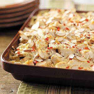 Try this chicken and hashbrown baked casserole from Taste of Home!      Get the bakeware you need to bake this delicious recipe at Old Time Pottery!  http://www.oldtimepottery.com/