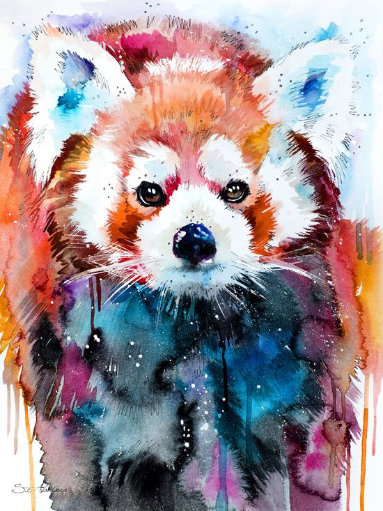 Red Panda watercolor Art. Artist- Slaveika Aladjova. I included this in my exhibition because i feel abstract watercolor art can be very expressive, beautiful, and interpreted in many different ways. On top of that, the Red Panda is an endangered species.