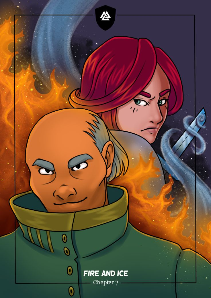 Fire and Ice! The coverpage of the seventh chapter of the webcomic Tales of Midgard.