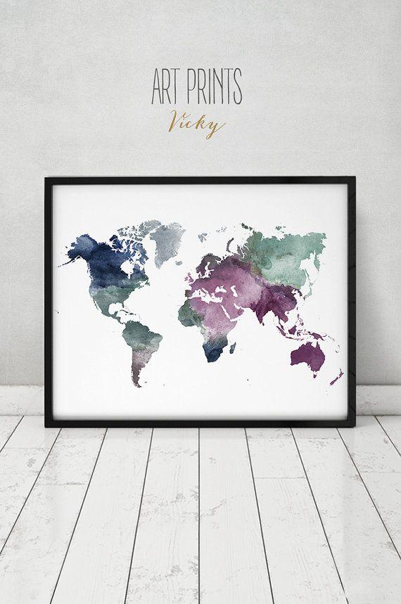 large world map poster, colorful world map print, world map watercolor, travel map, world map, home decor wedding guest book ArtPrintsVicky.