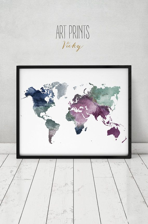 large world map poster colorful world map print by ArtPrintsVicky