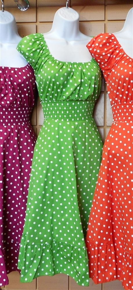 Really cute polka dot dresses. I love the green one!