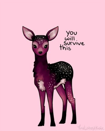 Cute Baby Deer | Purple | pink | Positive Quote | you will survive this