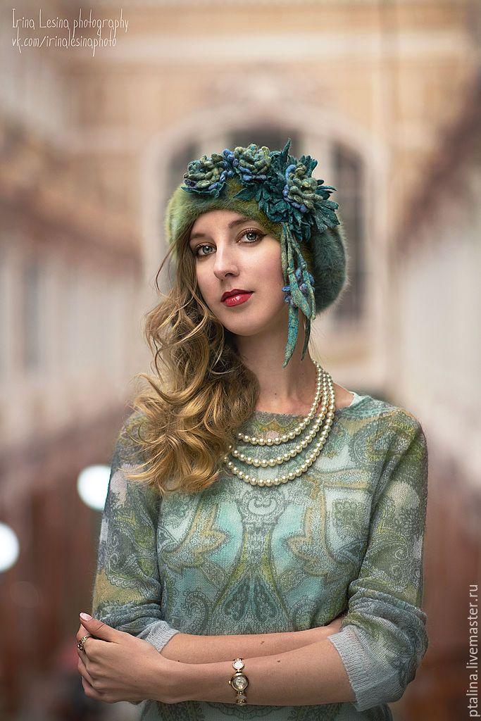 Берет авторский с валяными цветами Фиона - берет, Валяние, авторские головные уборы