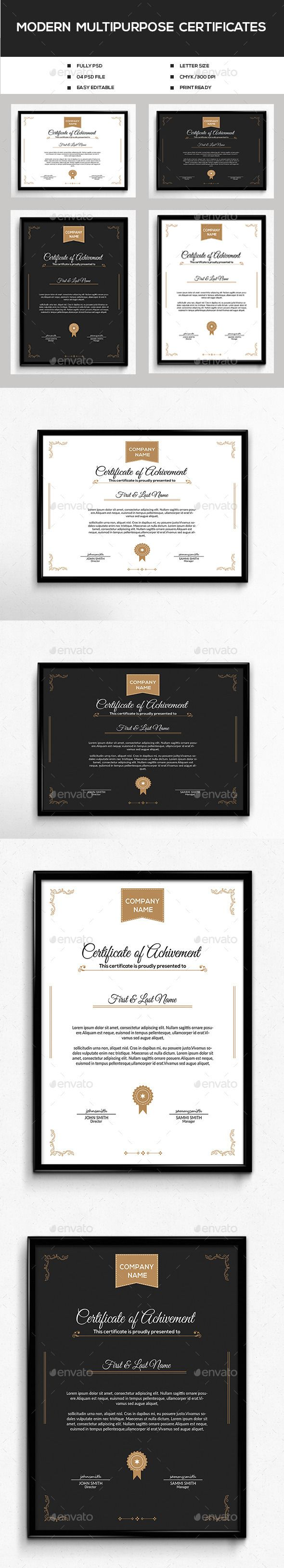 #Modern #Multipurpose Certificates - #Certificates #Stationery Download here: https://graphicriver.net/item/modern-multipurpose-certificates/12247912?ref=alena994