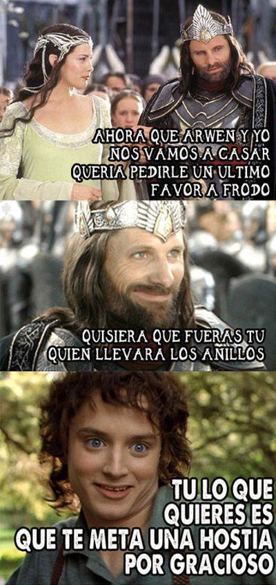 Frodo encargado de los anillos.