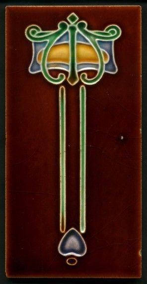 TH3269 Unusual Art Nouveau Embossed Majolica 3x6 Tile Lea & Boulton c.1910