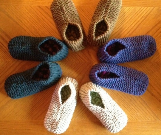 Knit, thrummed slippers