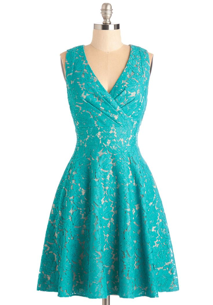 Labyrinthine Lace Dress in Teal - Blue, Solid, Lace, Pleats, Special Occasion, Prom, Wedding, Daytime Party, Bridesmaid, A-line, Sleeveless, Variation, Mid-length, Lace, V Neck
