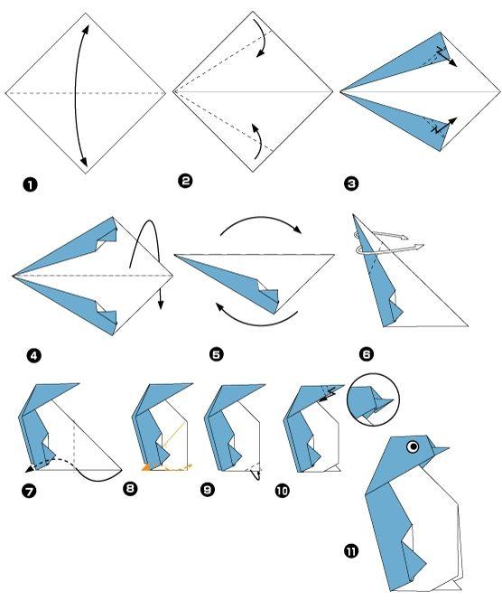 Manchot en origami