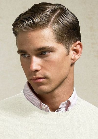 Classy Retro Slick Parted Haircut For Men ♂ Hairstyle