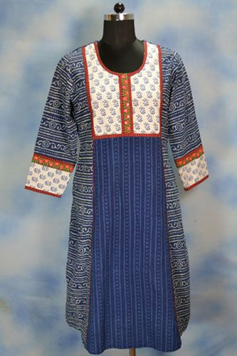 Buy latest Blue Indigo Long Kurti from Harmeendesign.com.
