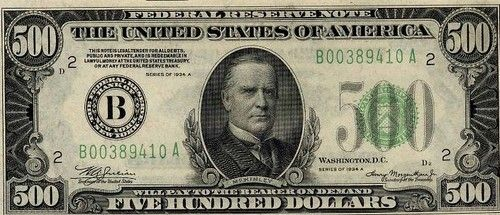 Presidents William McKinley, Grover Cleveland, and James Madison are on the $500, $1000, and $5000 bill, respectively. The bills can still be used legally (if you're willing to put up with being accused of counterfeiting by distrustful cashiers) but they are no longer printed.